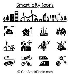도시, 세트, 도시, 도시, eco, 유지할 수 있는, 친절한, 똑똑한, 아이콘