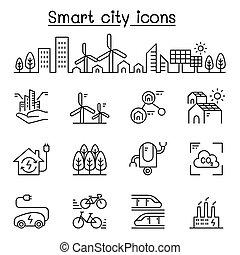 도시, 스타일, 세트, 도시, 도시, eco, 얇은, 유지할 수 있는, 선, 친절한, 똑똑한, 아이콘