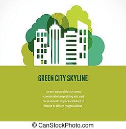 도시 지평선, 녹색, 아이콘