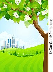 도시, 현대, 나무, 녹색의 배경
