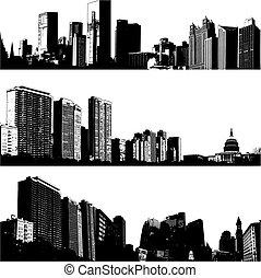 도시, 3, 벡터, 지평선