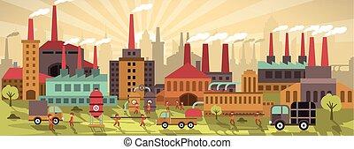 도시, colors), 공장, (retro