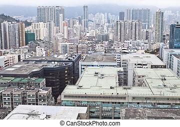 도심지, hong, kowloon, 지구, kong