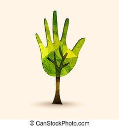 도움, 나무, 삽화, 손, 환경, 녹색