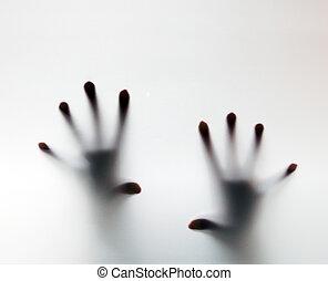 도움, 서리로 덥는, 만지는 것, 글래스., 손, 개념의, 우스꽝스러운 사람