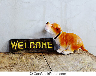 도자기, 멍청한, 환영, 개, 표시, 배경