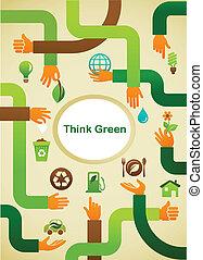 도표 상징, -, 생태학, 녹색의 배경, 손, 생각하다