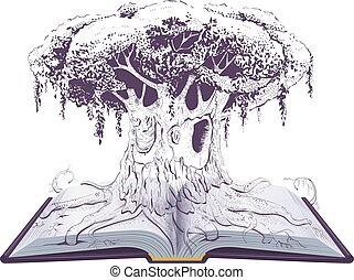 독서, book., 크게, 늙은, 지식, 나무, 교육, 열려라