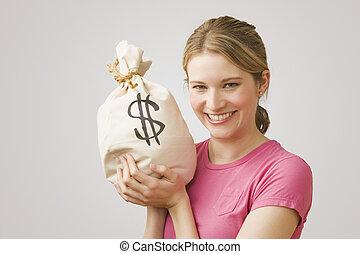 돈, 보유, 여자, 가방