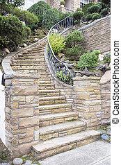 돌, 계단, 외부, 정면, 가정, 베니어