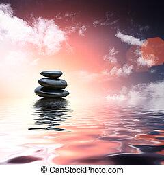 돌, 물, 반영하는, 선, 배경