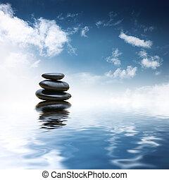 돌, 물, 위의, 선