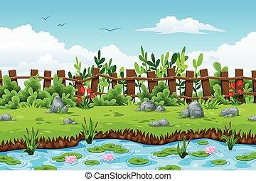 돌, 여름, 꽃, 조경술을 써서 녹화하다, 삽화