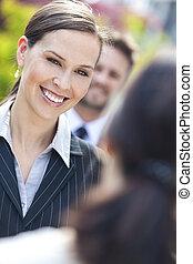 동료, 여성 비즈니스, 여자 실업가, 팀, 또는