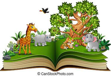 동물, 큰 나무, 책, 열려라, 만화