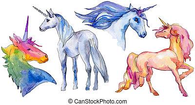 동물, element., 뿔, 단 것, 일각수, 고립된, 귀여운, fairytale, dream., character., horse., 삽화, 무지개, 아이들