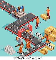 동일 크기다, 포스터, 공장, 생산, 자동화된다, 선
