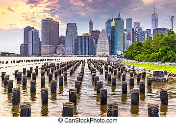 동쪽, 맨해튼, 도시 풍경, 내려가다, 미국, 강, 요크, 새로운