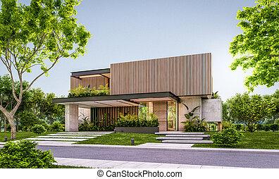 두꺼운 널판지, 정면, 집, 3차원, 나무, 현대, 지방의 정제, 저녁