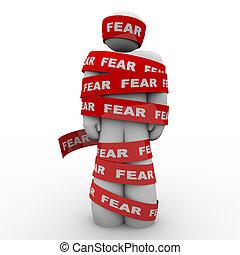 두려워하여, 깜짝 놀란, 테이프, 감싸인다, 공포, 빨강, 남자
