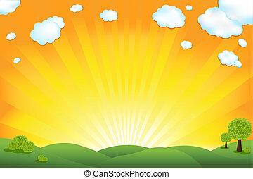 들판, 녹색, 해돋이, 하늘