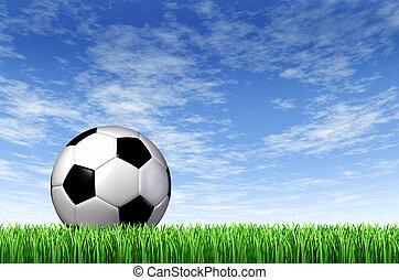 들판, 배경, 공, 축구, 풀
