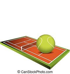 들판, 벡터, 3차원, 테니스