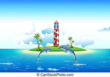 등대, 돌고래, 바다 전망