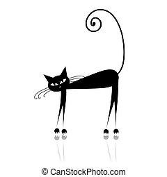디자인, 검정, 실루엣, 너의, 고양이