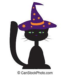 디자인, 고양이, halloween, 검정