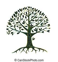 디자인, 나무, 너의, 뿌리