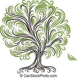 디자인, 떼어내다, 나무, 너의, 뿌리