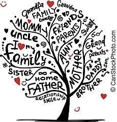 디자인, 밑그림, 나무, 너의, 가족
