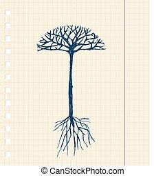 디자인, 밑그림, 나무, 너의, 뿌리