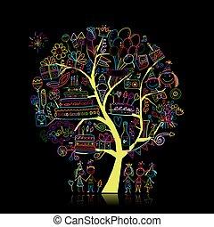 디자인, 생일, 나무, 너의, 파티
