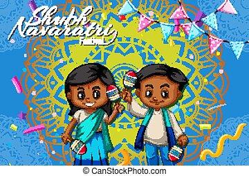 디자인, 아이들, 행복하다, navaratri, 포스터