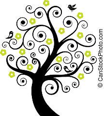 떼어내다, 나무, 새