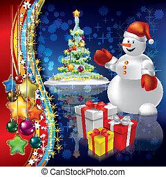 떼어내다, 나무, 크리스마스, 배경