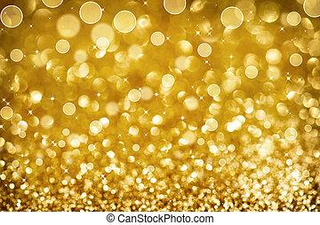 떼어내다, 빛나는, 금, 휴일, 크리스마스, texture., bokeh, 황금, 배경.