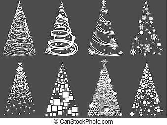 떼어내다, 세트, 나무, 크리스마스