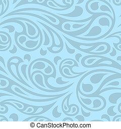 떼어내다, pattern., seamless, 물, 튀김, 파도
