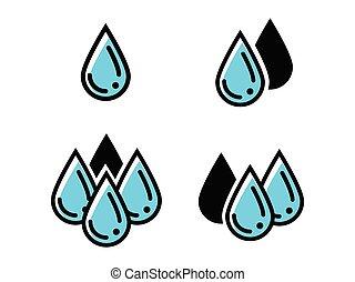떼어내다, water., 상징, 내리다, vector., eps-10