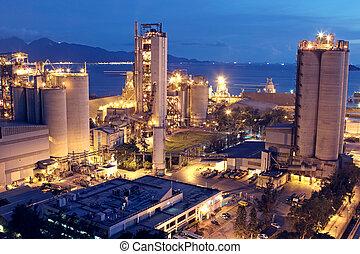또는, 산업, 무거운, 해석, industry., 콘크리트, 공장, 식물, 시멘트