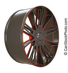 또는, 차량, 검정, 고립된, 평원반, 빨강, 바퀴