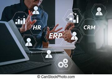 똑똑한, 정제, 디지털, 일, co, 실업가, 현대, 개념, 전화, 컴퓨터, 팀, 사무실, 을 사용하여, 특수한 모임, 휴대용 퍼스널 컴퓨터