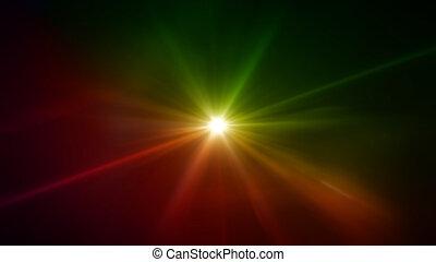 렌즈 불길, 별, 녹색, 황색