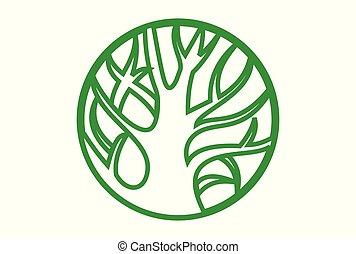 로고, 개념, 나무, 녹색