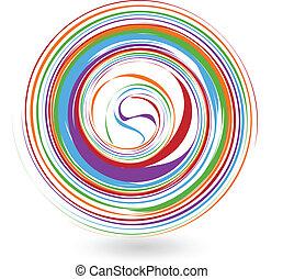 로고, 다채로운, 파도