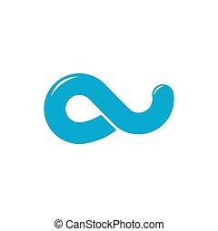 로고, 단일의, 고리, 푸른 파도, 물, 벡터