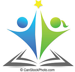 로고, 문자로 쓰는, 책, 아이들